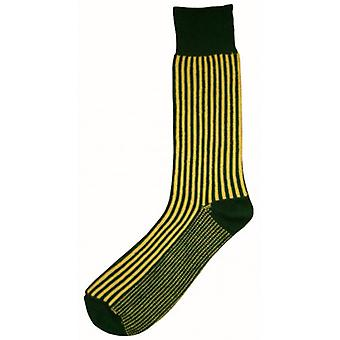 Bassin and Brown Vertical Stripe Midcalf Socks - Green/Yellow