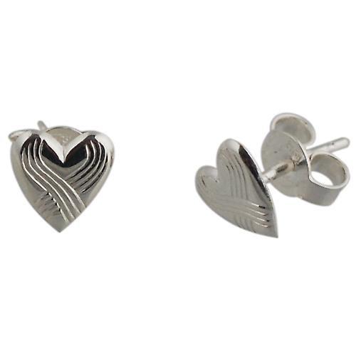 Silver 8x8mm patterned heart shaped stud Earrings