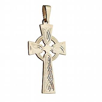 9ct Gold 44x26mm hand engraved knot pattern Celtic Cross with bail on a