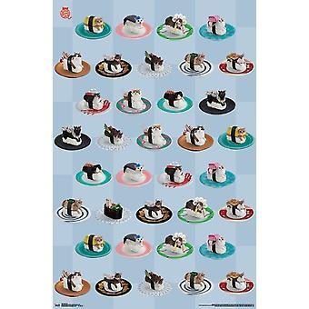 Sushi Cat - Grid Poster Print