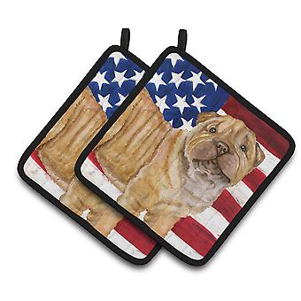 Carolines Treasures  BB9719PTHD Shar Pei Puppy Patriotic Pair of Pot Holders