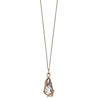 Elements Silver Swarovski Crystal Wing Shape Pendant - Rose Gold/Clear