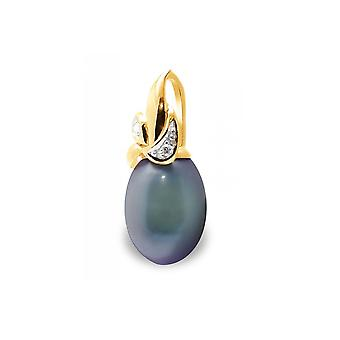 Pendant Pearl of Culture of water soft black, diamonds and yellow gold 375/1000