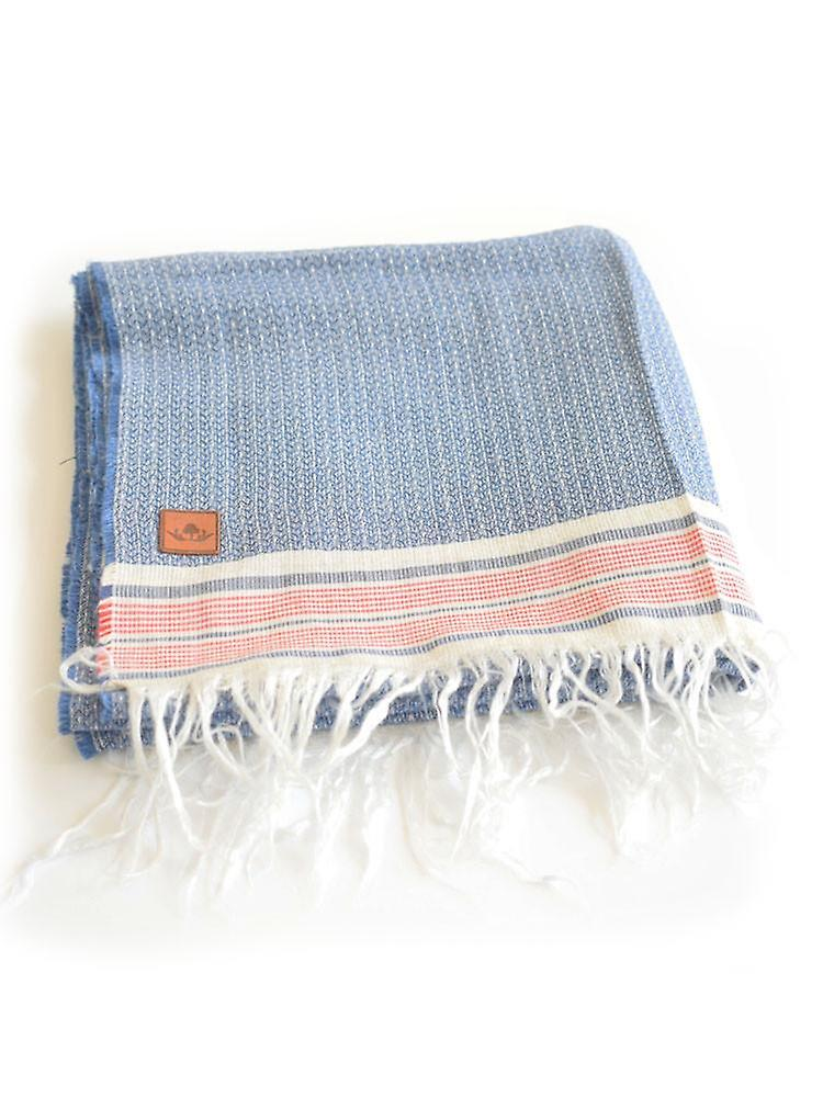Pinstripe cotton blend scarf – blue & white