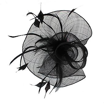 Black Fascinator on Headband/ Clip-in for Weddings, Races and Occasions-7148