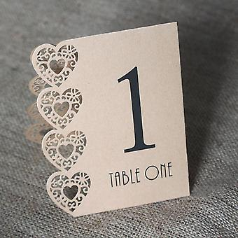 Vintage Kraft Brown Table Numbers 1- 15 Laser Cut Hearts Rustic Wedding