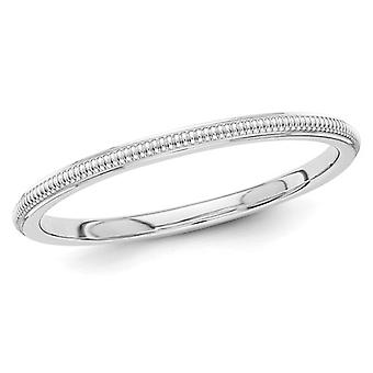 Ladies 2mm Stackable Milgrain Wedding Band in 14K White Gold