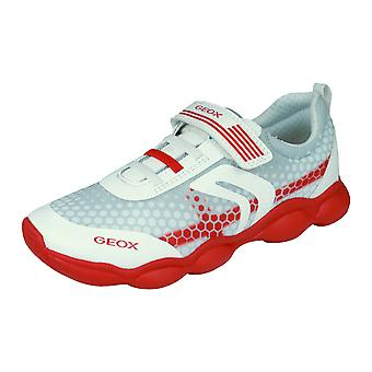 Kids Geox Trainers J Munfrey Boy C Shoes - White and Red