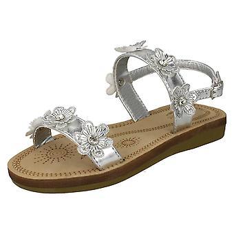 Piger Spot på Slingback blomstrende sandaler H0292 - sølv metalliske folie - UK størrelse 13 - EU størrelse 32 - US størrelse 1