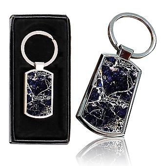 i-Tronixs - Premium Marble Design Chrome Metal Keyring with Free Gift Box (3-Pack) - 0024