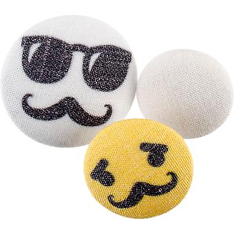Fabricraft - Fabric Covered Buttons 8/Pkg-Mustaches