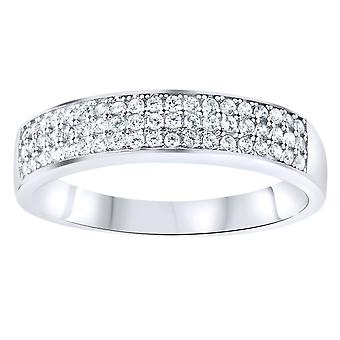 Sterling 925er Silber Pave Ring - Three Lines Pave