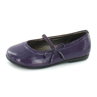 Girls Spot On Flat Ballerina Shoe with Elastic Bar Strap and Side Bow