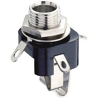 6.35 mm audio jack Socket, vertical vertical Number of pins: 3 Stereo Black Lumberg KLB 3 1 pc(s)