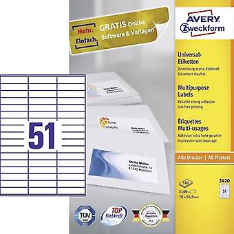 Whi de papel Avery Zweckform 3420 etiquetas 70 x 16,9 mm