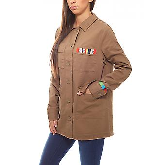 buttoned ladies long jacket in military style khaki Aniston