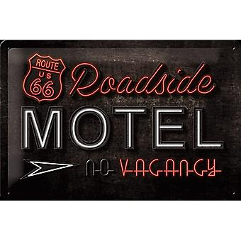 Route 66 Roadside Motel Embossed Metal Sign 300Mm X 200Mm