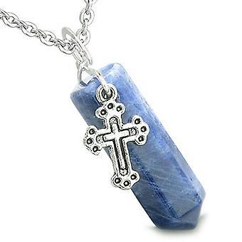 Amulett Crystal Point Heilig-Kreuz Charme Sodalith Edelstein Positive spirituelle Anhänger Halskette