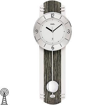 AMS 5294 壁時計ラジオ制御振り子黒グレー木製の一見振り子時計ウォールク ロック