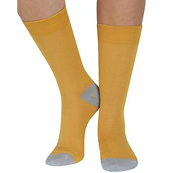 Plain soft bamboo organic crew sock in yellow | By seriouslysillysocks