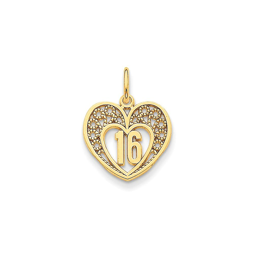 14k jaune or Polished 16 Heart Charm - 1.2 Grams - Measures 20.8x16.3mm