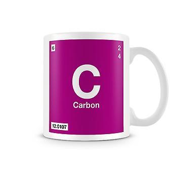 Научные печатные кружка, показывая элемент символ C 005 - углерода