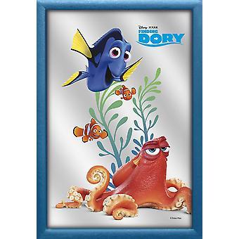 Finding Dory Wandspiegel Happy Dory farbig bedruckt, Kunststoffrahmung blau, Holzoptik.