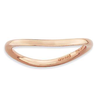 1,5 mm Sterlingsilber stapelbar Ausdrücke poliert Pink-Platte Wave Ring - Ring-Größe: 5 bis 10