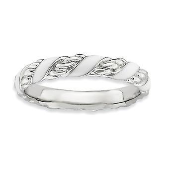 Sterling zilveren Rhodium-plated stapelbare expressies gepolijst wit geëmailleerd Ring - Ringmaat: 5 tot 10
