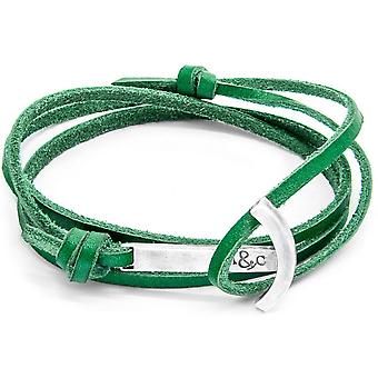 Anchor and Crew Clipper Silver and Leather Bracelet - Fern Green