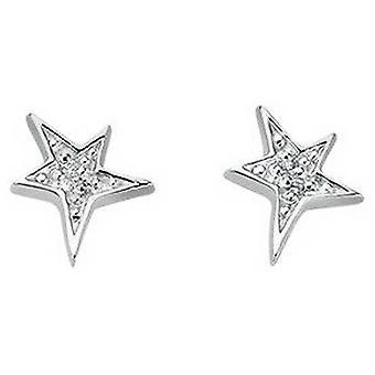 Beginnings Cubic Zirconia Star Stud Earrings - Silver/Clear