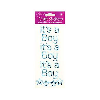 It's A Boy Blue Jewel Letter Stickers for Baby Shower Crafts - Pack of 3