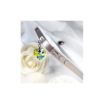 Accessoire Bijoux SmartPhone Coeur en Cristal de Swarovski Elements Blanc