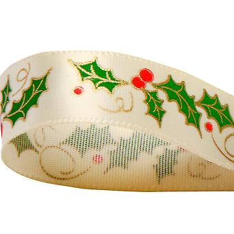 SALE - 15mm Satin Christmas Printed Holly Ribbon for Crafts - 10m