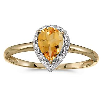 10k Yellow Gold Pear Citrine And Diamond Ring