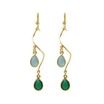 Gemshine grön spiral vintergröna droppe örhängen smaragder och Kalcedon 925 Silver eller högkvalitativ guldpläterad - kvalitet smycken tillverkade i Tyskland