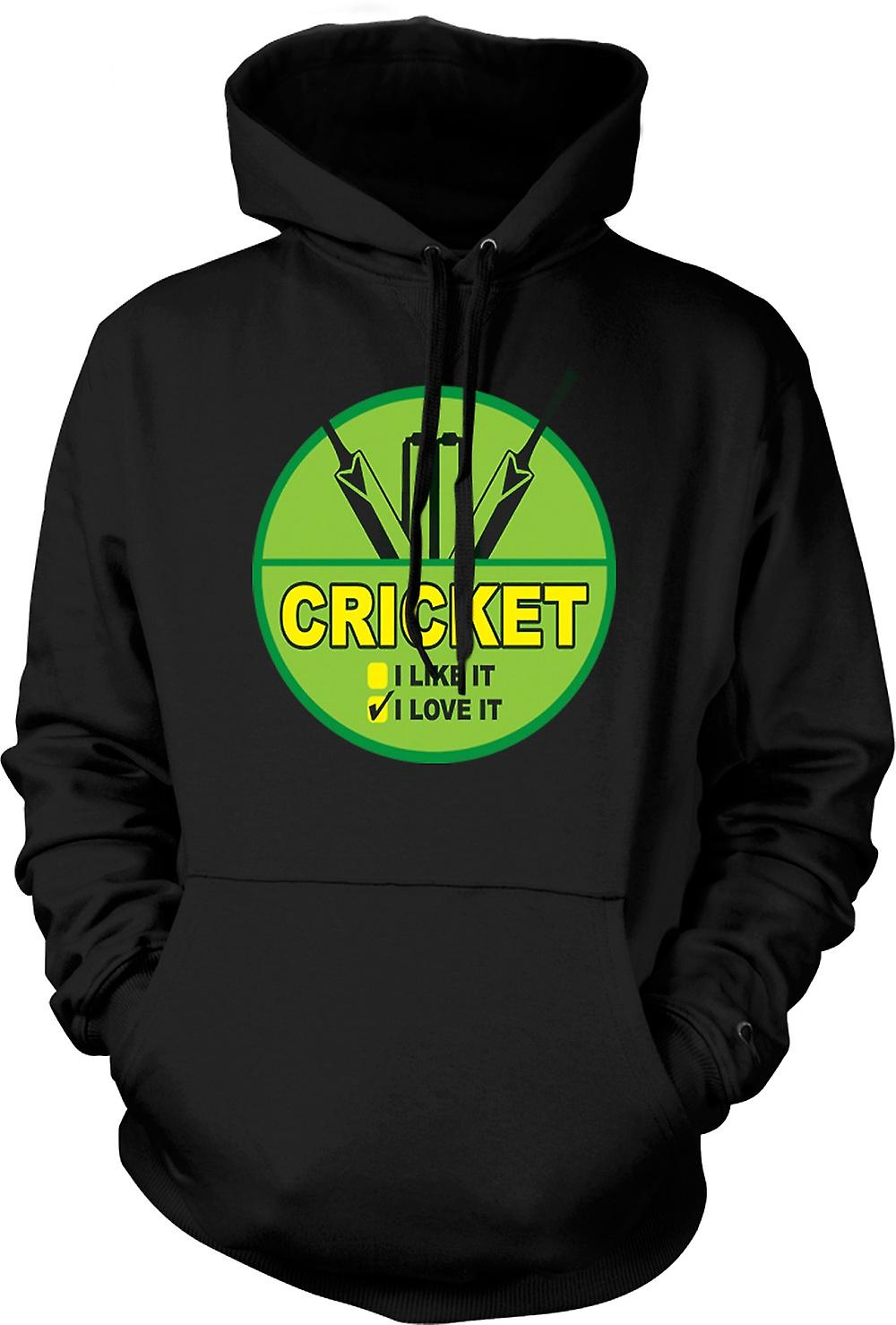 Mens Hoodie - Cricket I Love It - Funny