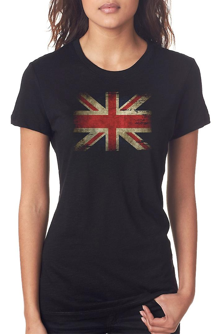 Vereinigte Kingdon Union Jack Grunge Flag Damen T Shirt