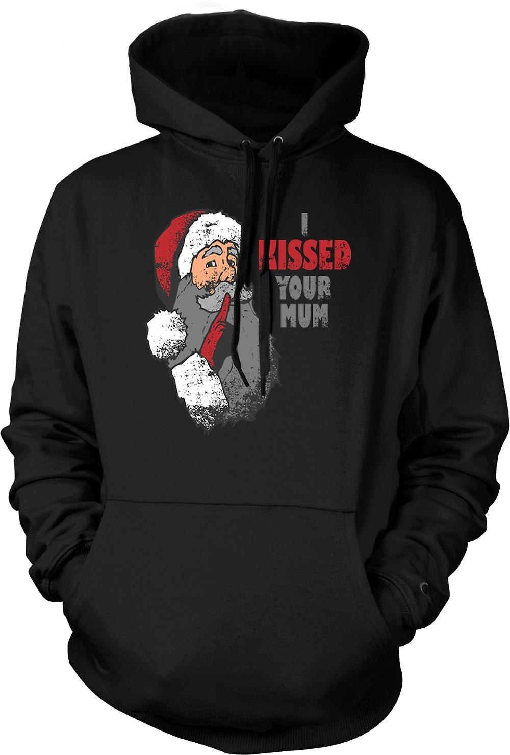 Mens Hoodie - I Kissed Your Mum - Funny Santa