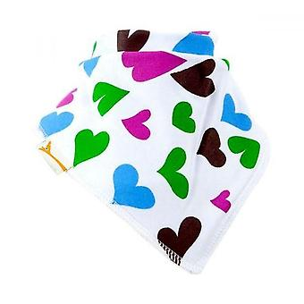 White, blue, green & pink hearts bandana bib