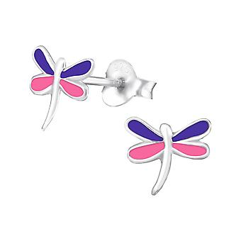Dragonfly - 925 Sterling Silver Colourful Ear Studs - W987X