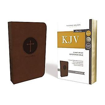 KJV Bíblia de referência, impressão gigante, imitação couro, marrom, vermelho carta edição, impressão de conforto (couro / fine vinculação)