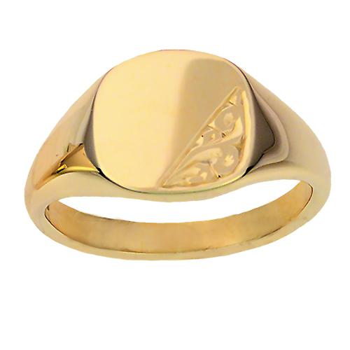 9ct Gold 13x13mm solid hand engraved cushion Signet Ring Size W
