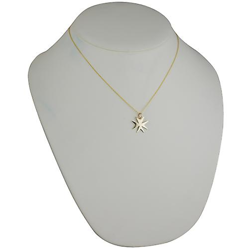 9ct Gold 18x17mm plain Maltese Cross with a cable Chain 18 inches