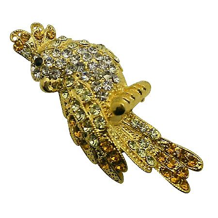 Stunning Gold Brid Brooch Handbag Jacket Brooch Sparkle Shine Crystals