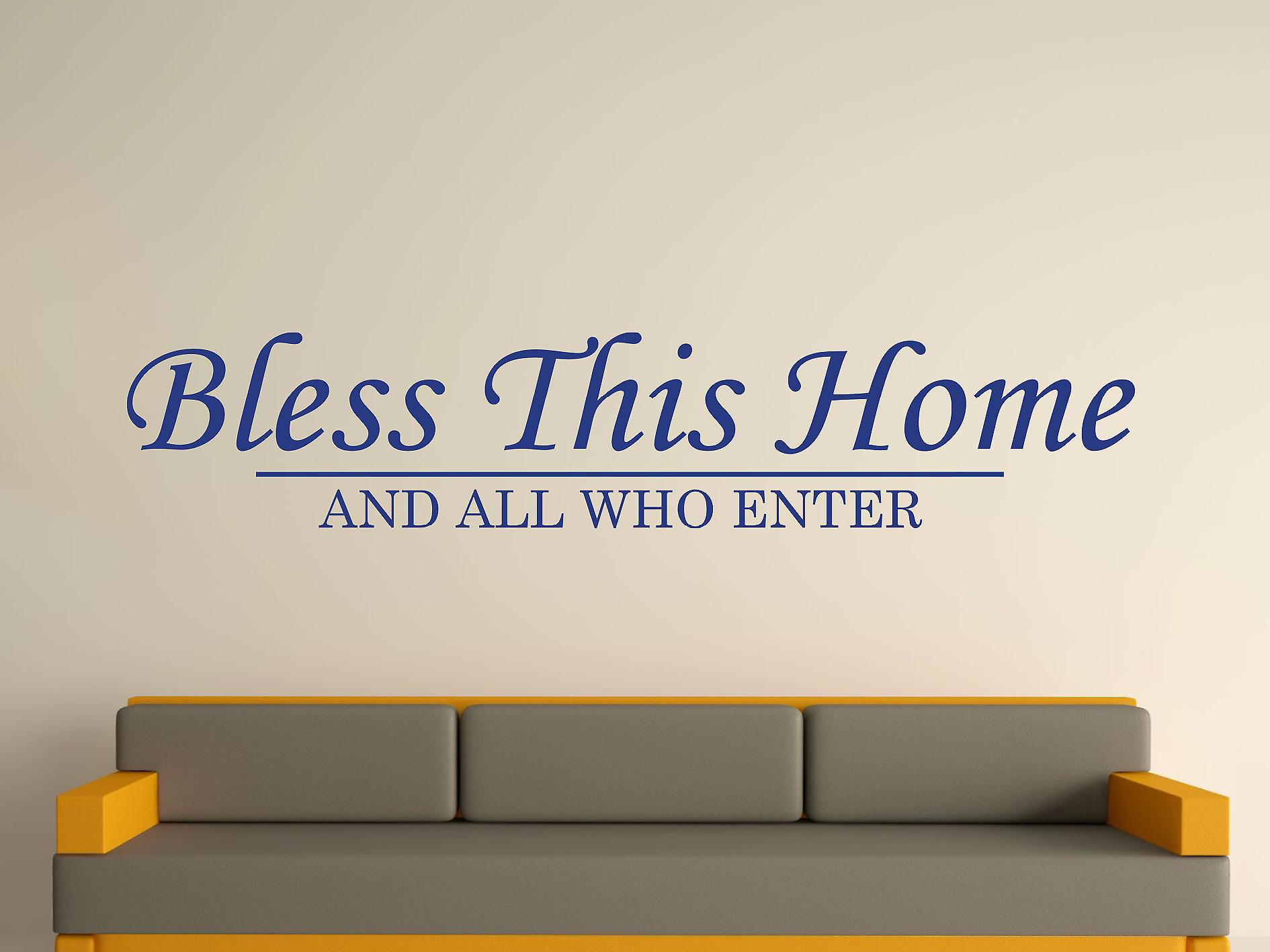 Bless This Home Wall Art Sticker - Azure