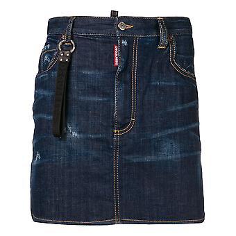 Dsquared2 Dalma Blue Cotton Skirt
