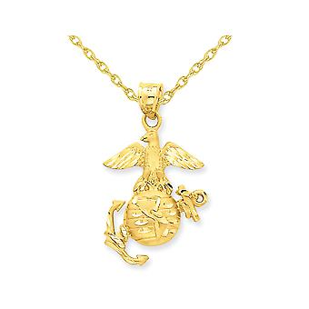 U.S. Marine Corps Pendant Necklace in 14K Yellow Gold