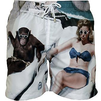 Francos bañistas impresión Swim Shorts, blanco multi