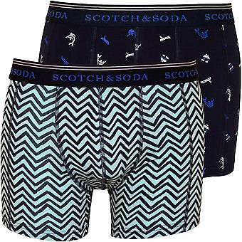 Scotch & Soda 2-Pack Geo And Print Boxer Briefs Gift Set, Black/Multi